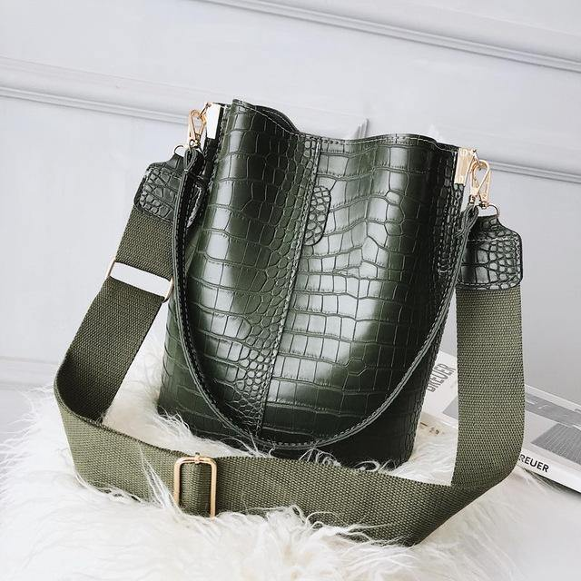 Ansloth Crocodile Crossbody Bag For Women Shoulder Bag Brand Designer Women Bags Luxury PU Leather Bag Bucket Bag Handbag HPS405 - iregalijoy.com