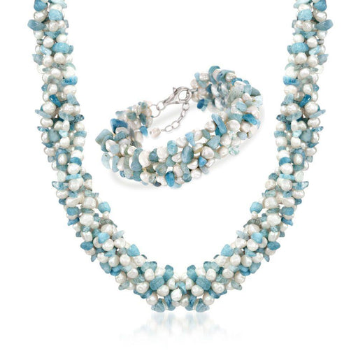 "Aquamarine Bead and 5-6mm Cultured Pearl Torsade Necklace with Free Bracelet. 18"" - iregali"
