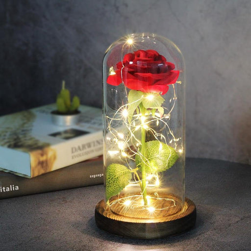 Artificial Eternal Rose  LED Light Beauty The Beast In Glass Cover Christmas Home Decor For Mother Valentines Day new Year Gift - iregalijoy.com