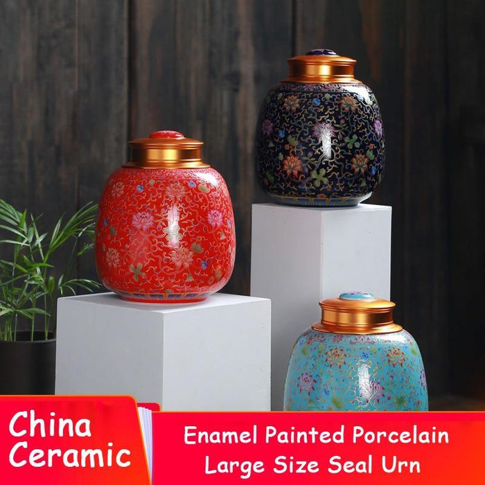 Ashes Urn Enamel Colored Ceramics Funeral Casket Large Cremation Urn For Human Memorials Funeral Ritual Supplies China Ceramics - iregalijoy.com