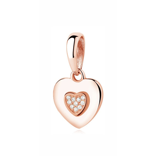 Authentic Original 925 Sterling Silver Charm Bead Pendant Spacer Clip Charms Rose Gold Color Fit Bracelets DIY Jewelry - iregalijoy.com