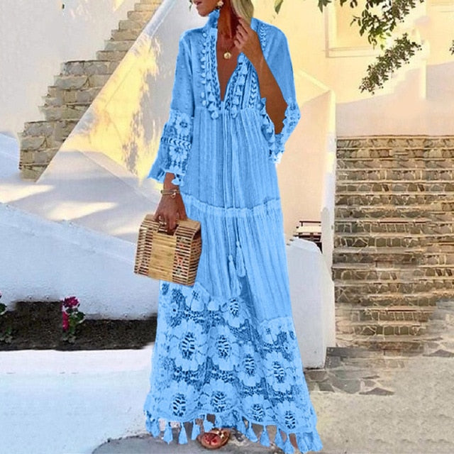 Autumn Fashion Casual Party Bohemian Large Size V-Neck Solid Color Lace Tassel Long Dress - iregali