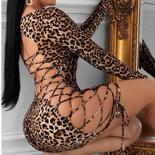 Backless Leopard Bandage Bodycon Mini Dress For Women Low-cut Long Sleeve U Neck Dress For Female Skinny Party Fashion Dress - iregali