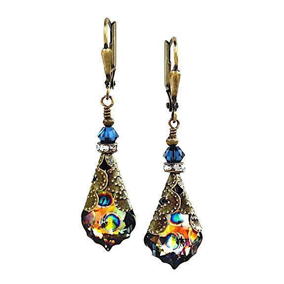 Baroque Crystal Vintage Inspired Leverback Dangle Drop Earrings - iregalijoy.com