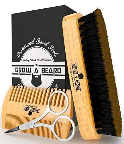 Beard Brush & Comb Set for Men's Care | Christmas Giveaway Mustache Scissors | Gift Box & Travel Bag | - iregalijoy.com