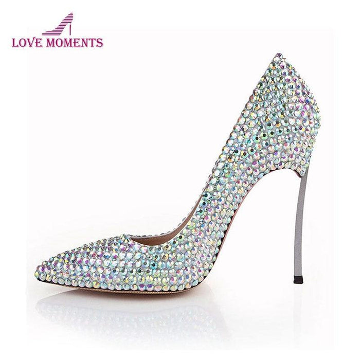 Bling Bling Silver AB Crystal Cinderella Prom Pumps 4 Inches Stiletto Heel Bridal Wedding Dress Shoes - iregalijoy.com