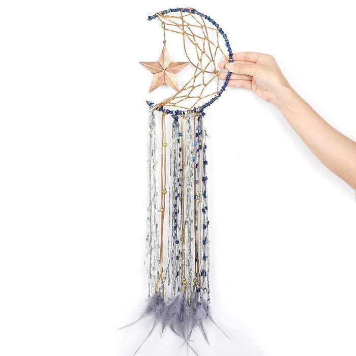 Blue Dream Catcher Handmade Half Circle Moon Design IREGALI