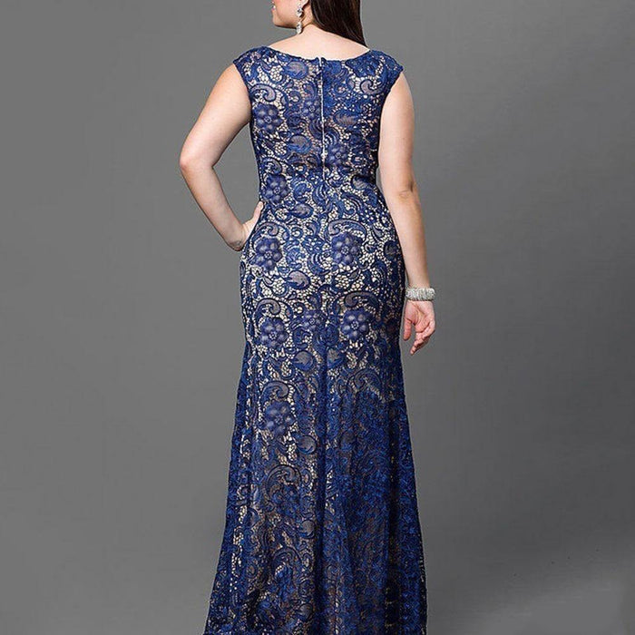 Blue Lace Floral Patchwork Evening Dress Sexy Sleeveless Mermaid Long Robe Femme Elegant Wedding Formal Gown Plus Size Vestidos - iregalijoy.com