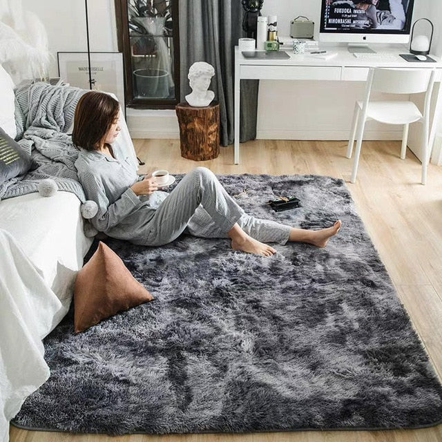 Bubble Kiss Soft Silk Carpets For Living Room Bedroom Kid Room Rugs Home Tie-dye Gradient Faux Fur Rug Fluffy Carpet Area Rugs - iregalijoy.com