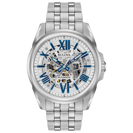 Bulova Men's Automatic Silver Skeleton Dial Stainless Steel Bracelet Watch 96A187 - iregalijoy.com