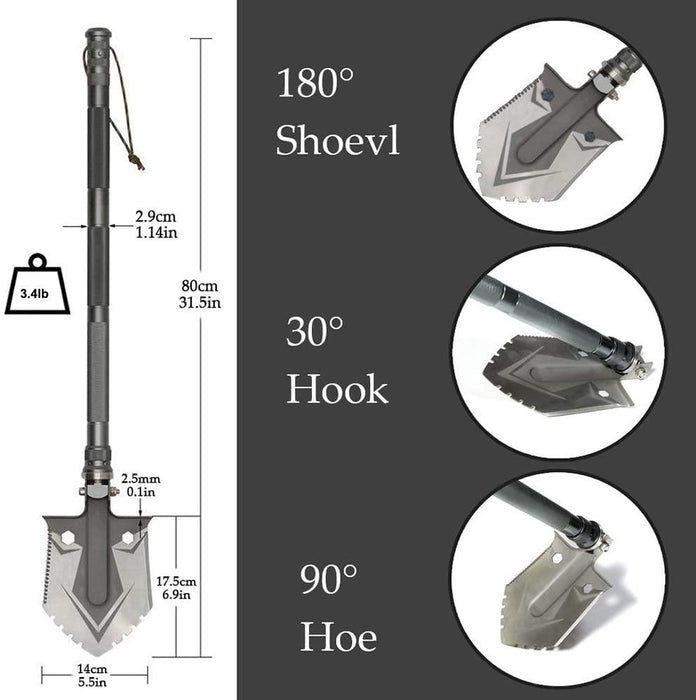 Camping Shovels Multifunctional Military Folding Shovel Outdoor Survival Pocket Tools High Carbon Steel Shovel - iregali