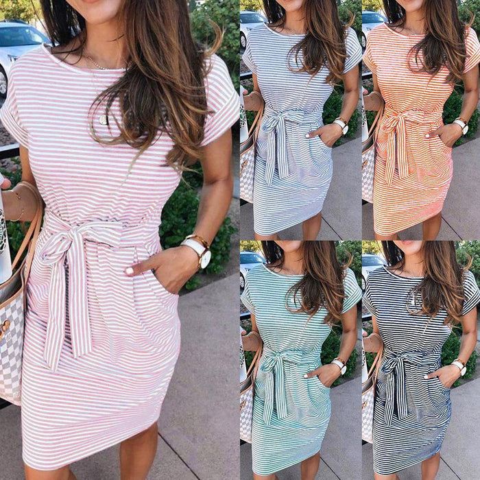 Casual Stripe Women Tshirt Dress Elegant O Neck Short Sleeve Sashes Pocket Black Pink Sundress Cotton Summer Midi Dress Vestidos - iregali