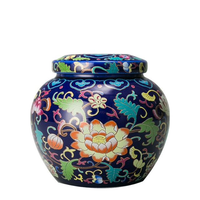 Ceramic Small Urns Humins Columbarium Cremation Urn For Human Ashes Vintage Hand Painted Ceramics Honden Urn At Home Or In Niche - iregali