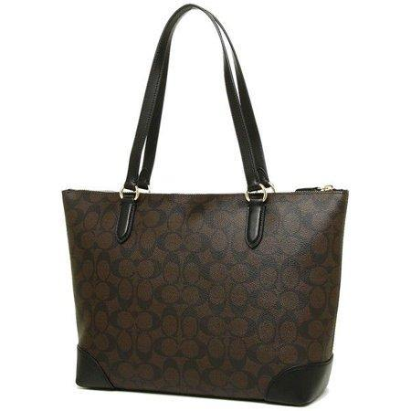 Coach (F29208) Coated Canvas Signature Zip Tote Handbag Bag - iregalijoy.com