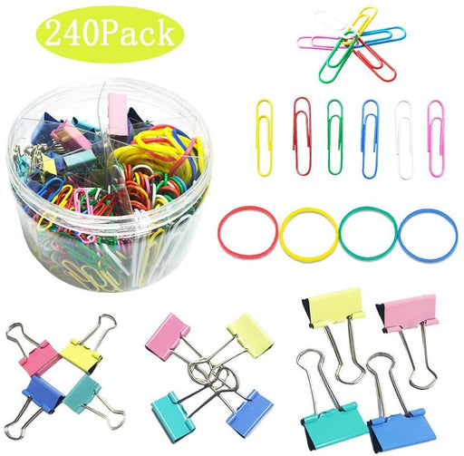 240 Pcs Binder Clips, 2 Sizes Assorted Muti-Colored Paper Clips, 3 Sizes Paper Clamps, Rubber Bands,Paper Binder Clips Metal Fold Back Clips - iregalijoy.com