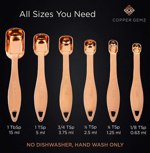 Copper Measuring Spoons, Set of 6 - PROVEN GIFT. Extra Sturdy & Heavy Duty. Copper-Plated Top-Quality Stainless Steel. - iregalijoy.com