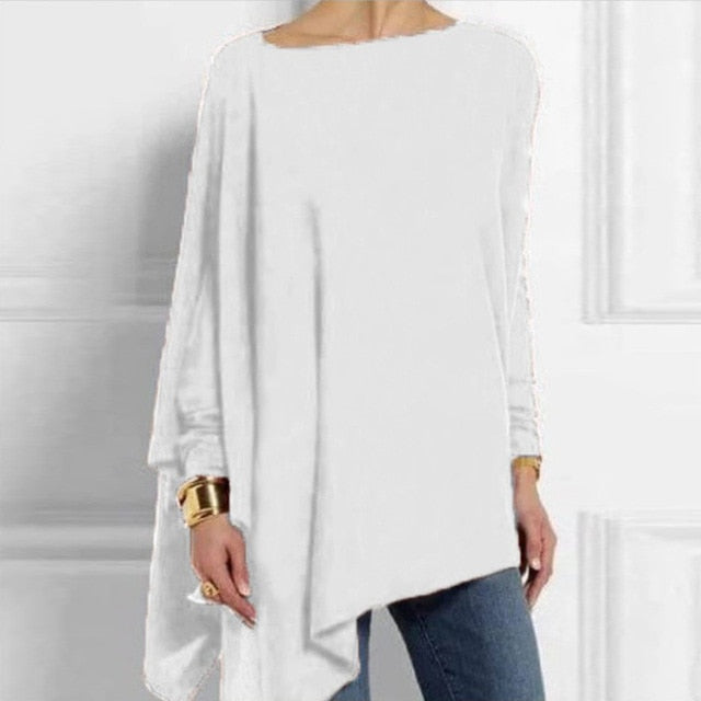Cotton Irregular Womens Tops And Blouses Casual O Neck Long Sleeve Top Female Tunic Autumn Plus Size Women Shirts - iregalijoy.com