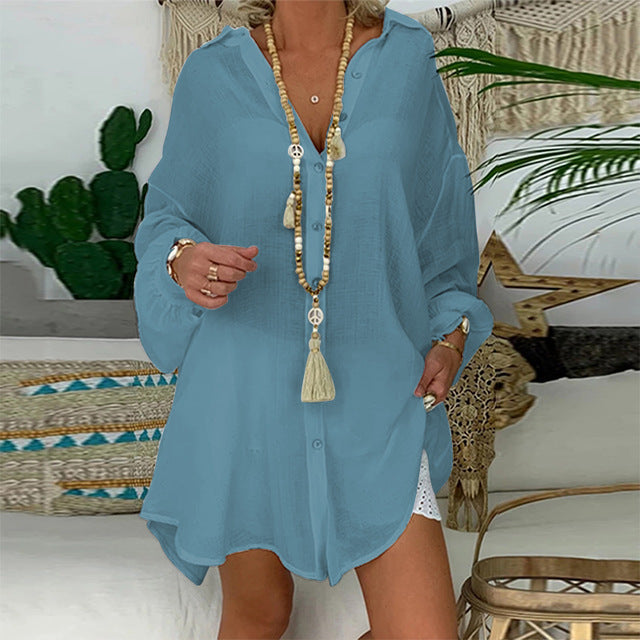 Cotton Linen Womens Tops And Blouses Plus Size Long Sleeve Turn Down Collar Female Tunic Beach - iregalijoy.com