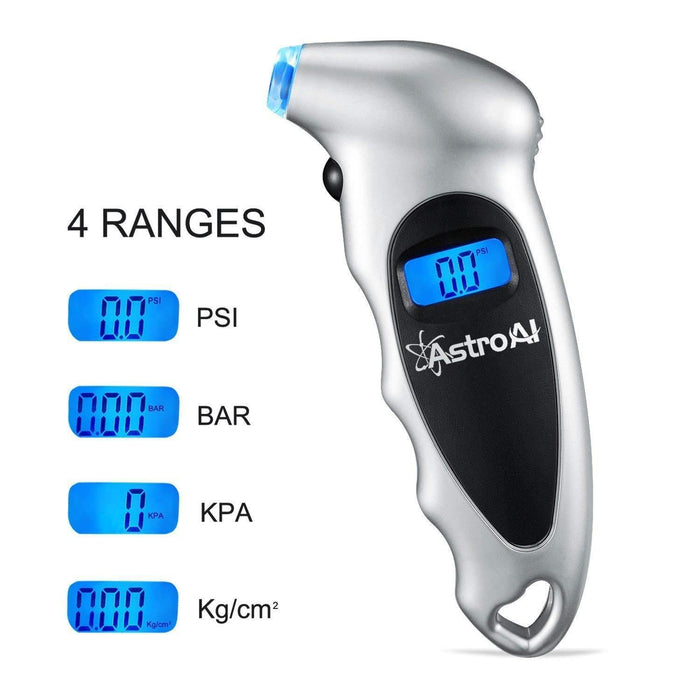 Digital Tire Pressure Gauge 150 PSI 4 Settings for Car Truck Bicycle with Backlit LCD and Non-Slip Grip, Silver - iregalijoy.com