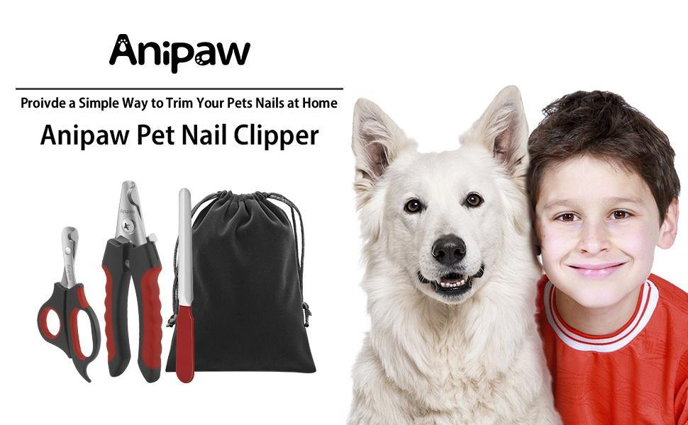 Dog Nail Clippers and Trimmer Set, Anipaw Stainless Steel Non Slip Handles & Razor Sharp Blades, Safety Guard - iregalijoy.com
