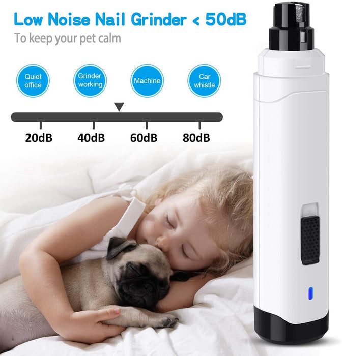 Dog Nail Grinder Upgraded - Professional 2-Speed Electric Rechargeable Pet Nail Trimmer Painless - iregali