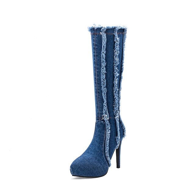 Pointed Toe Long Boots women comfy Microfiber Lady Boots Denim Knee High Boots Women Sexy 12cm Thin High Heels - iregali