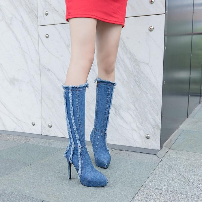 Pointed Toe Long Boots women comfy Microfiber Lady Boots Denim Knee High Boots Women Sexy 12cm Thin High Heels - iregalijoy.com