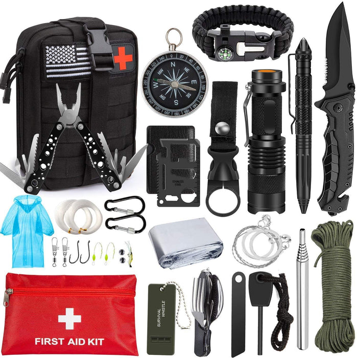 Emergency Survival Kit 47 in 1 Professional Survival Gear Tool First Aid Kit SOS Emergency Tactical - iregali