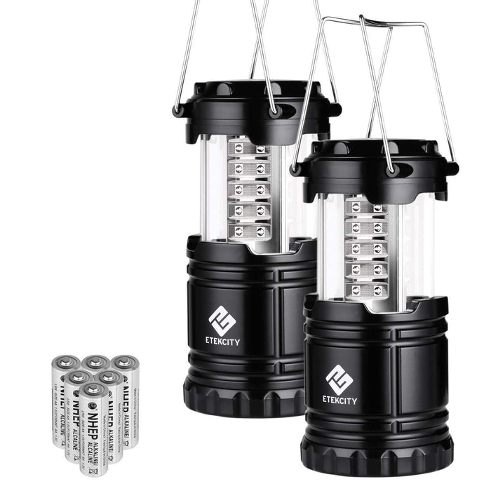 Etekcity 2 Pack Portable LED Camping Lantern Flashlights with 6 AA Batteries - Survival Kit for Emergency, Hurricane, Outage (Black, Collapsible) - iregalijoy.com