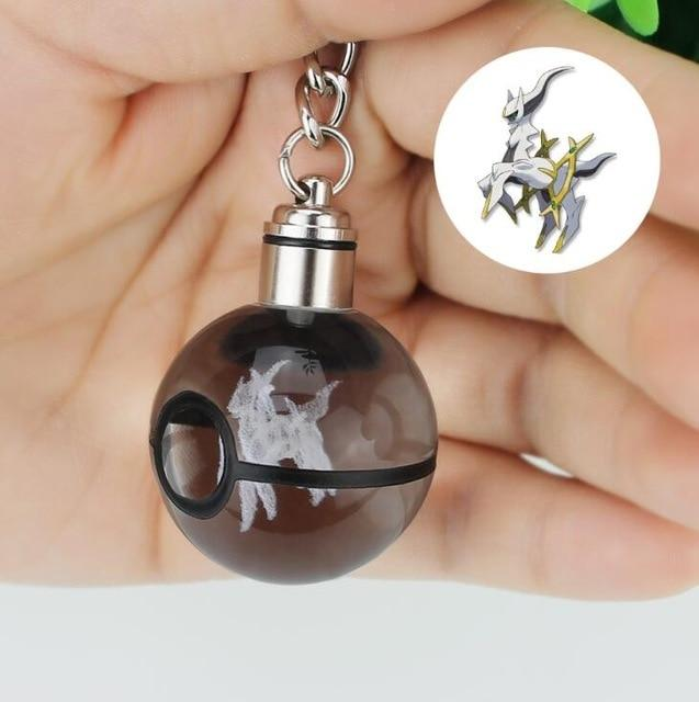 Fashion Bulbasaur Dragonite 3D Engraving Glass ball Lamp Pokemon Go Novelty Light LED Keychain Colorful Pendant Child's Gift - iregalijoy.com