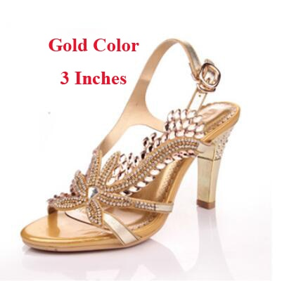 Fashion New Summer Sandals Crystal Rhinestones 8cm High Heels Prom Evening Party Shoes Lady Bridal Wedding Shoes - iregali