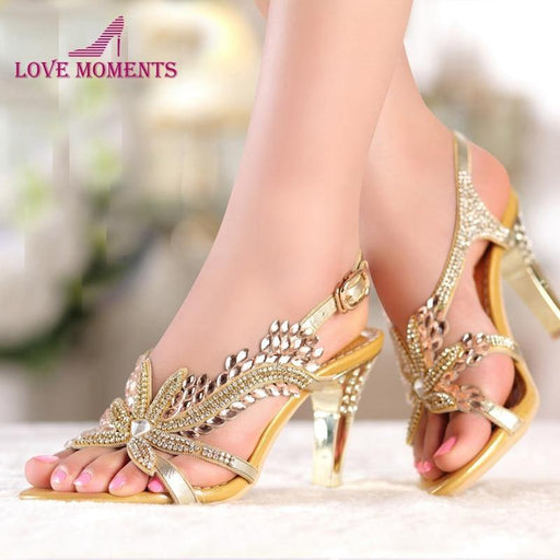 Fashion New Summer Sandals Crystal Rhinestones 8cm High Heels Prom Evening Party Shoes Lady Bridal Wedding Shoes - iregalijoy.com