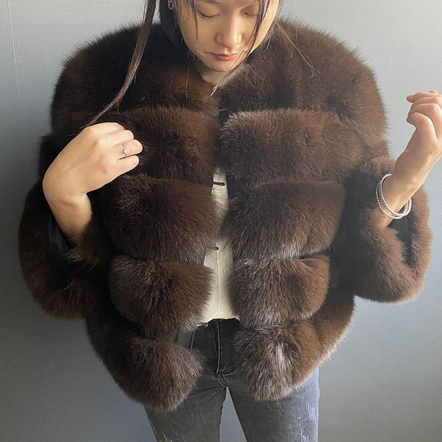 Fashion winter warm leather coat natural fox fur coat real fox fur jacket winter thick warm coat - iregalijoy.com