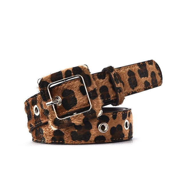 Female Leopard Belt Snake Skin Zebra Print Thin Horsehair Waistband PU Leather Gold Ring Heart Pin Metal Buckle Ladies Belts - iregalijoy.com