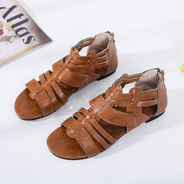 Flat Bottom Open Toe Causal Women Sandals Summer Women Sandals Fashion Low Heels Zipper Cover Heel Breathable - iregalijoy.com
