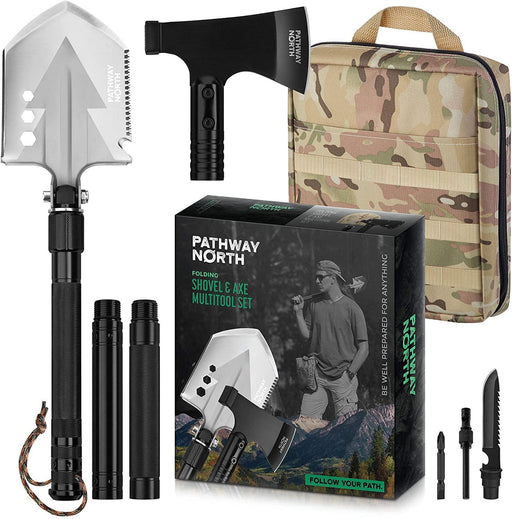 Folding Axe and Survival Shovel – Tactical Stainless Steel Multitool Camping, Military Portable Shovel and Collapsible Hatchet - iregalijoy.com