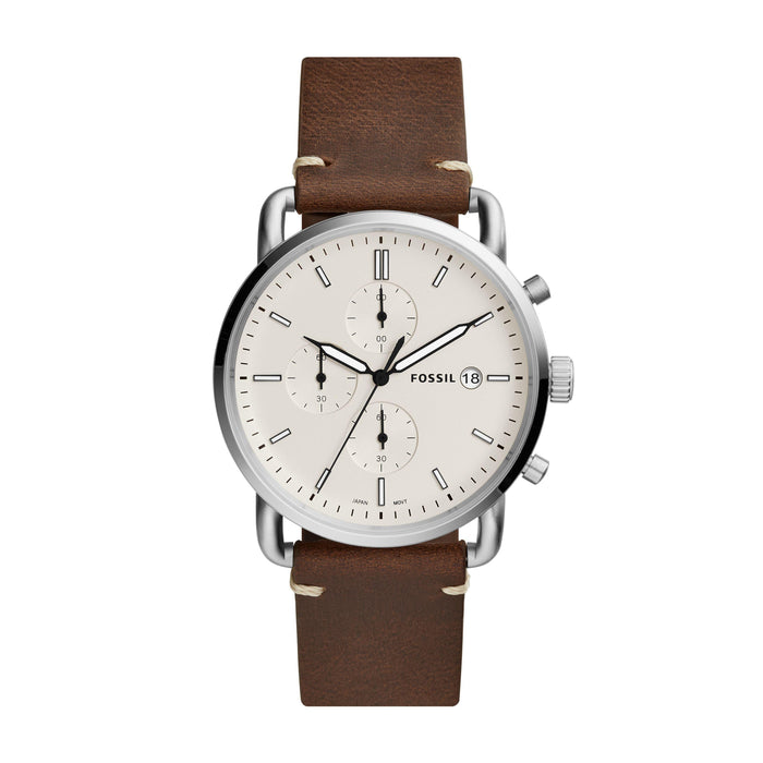 Fossil Men's Commuter Chronograph Light Brown Leather Watch FS5401 - iregalijoy.com