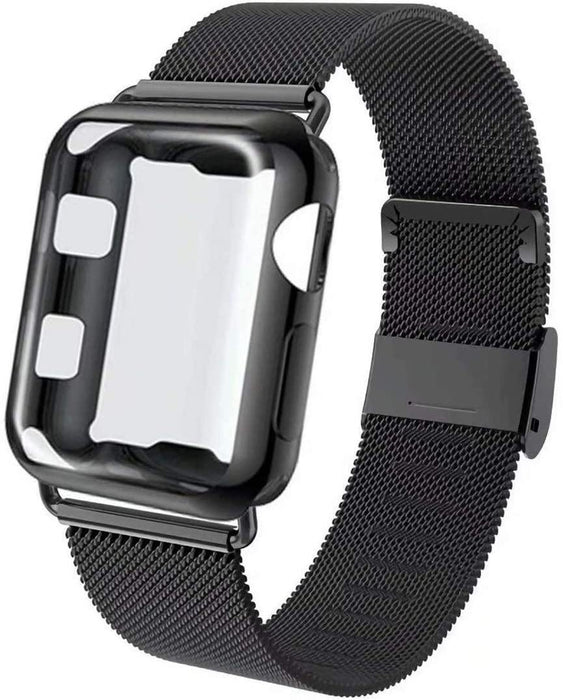 Set of 2 Apple Watch Band with Screen Protector Case, Sports Wristband Strap Replacement Band with Protective Case - iregalijoy.com