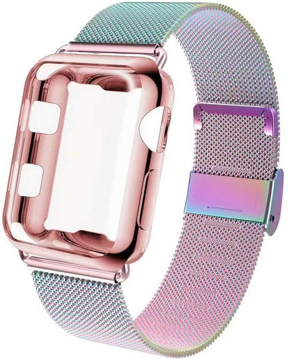 Set of 2 Apple Watch Band with Screen Protector Case, Sports Wristband Strap Replacement Band with Protective Case - iregali