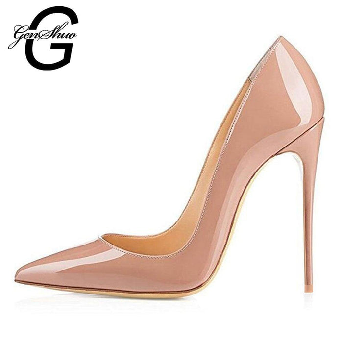 High Heels 12cm Black Pumps Silver High Heels Wedding Shoes Nude Pumps Bridal Shoes Women Pumps - iregalijoy.com