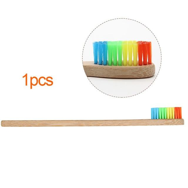 Genkent Colorful Head Bamboo Toothbrush Wholesale Environment Wooden Rainbow Bamboo Toothbrush Oral Care Soft Bristle - iregalijoy.com