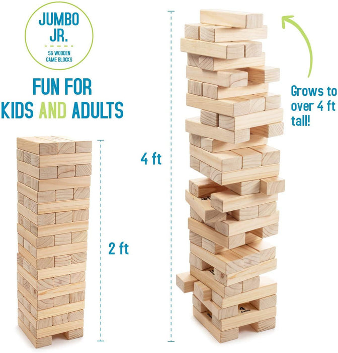 Giant Tumbling Timber Toy - Jumbo JR. Wooden Blocks Floor Game for Kids and Adults, 56 Pieces, Premium Pine Wood, Carry Bag - iregalijoy.com