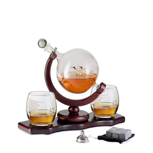 Glass Globe Decanter Set w/Whiskey Glasses, Reusable Steel Ice Cubes, - iregalijoy.com