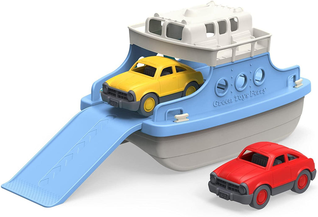 Green Toys Ferry Boat with Mini Cars Bathtub Toy, Blue/White, Standard - iregali