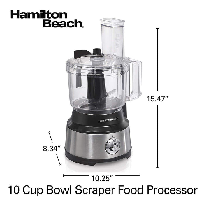 Hamilton Beach 10-Cup Food Processor & Vegetable Chopper with Bowl Scraper, Stainless Steel - iregalijoy.com