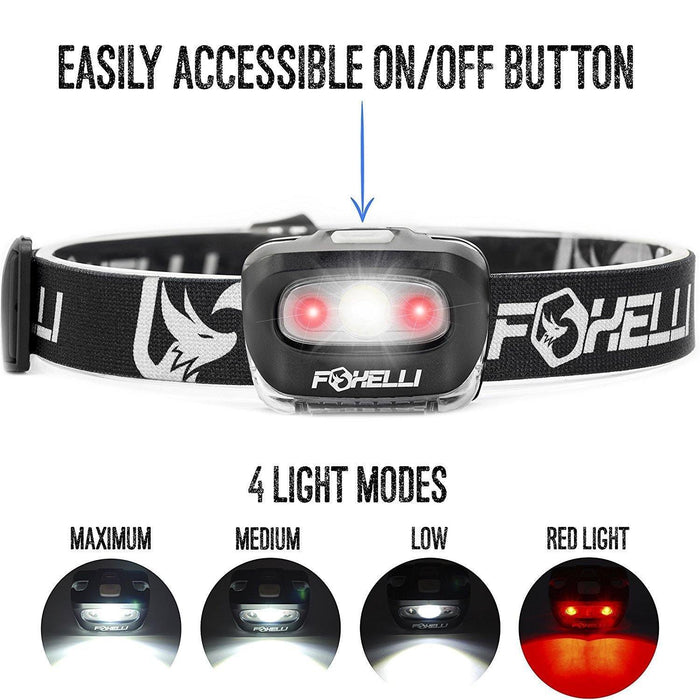 Headlamp Flashlight - 165 Lumen, 3 x AAA Batteries Operated, Bright White Cree Led + Red Light, Perfect for Runners - iregalijoy.com