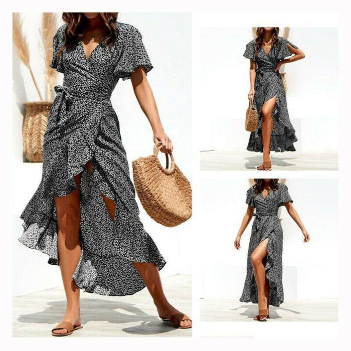 Women Boho Short Sleeve Wrap Dress Ladies V-Neck Dresses Party Holiday Beach Dresses Plus Size XXL - iregalijoy.com