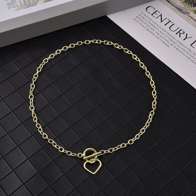 Hollow Heart Link Chain Choker Necklaces for Women Golden Necklace Statement Chain Necklace Jewelry Party Gift Girls
