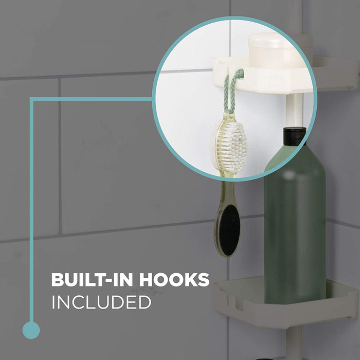 Home Tension Corner Shower Pole Caddy, White - iregalijoy.com