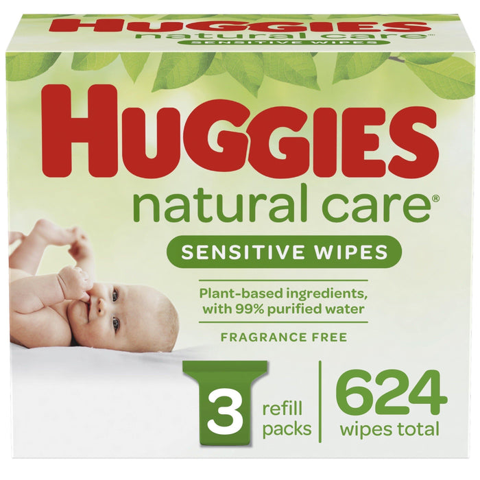 Huggies Natural Care Sensitive Baby Wipes, Unscented, 3 Refill Packs (624 Wipes Total) - iregali
